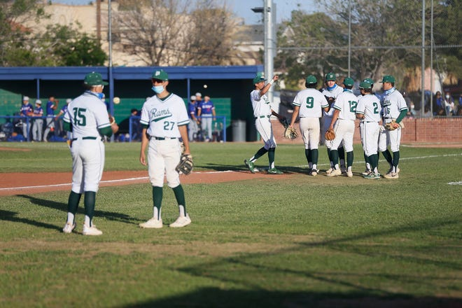 Montwood takes the field for the game against Americas in District 1-6A baseball at Montwood High School in El Paso.