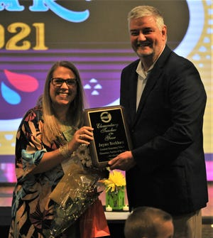Jayme Beckham of Crockett Elementary School won the Wichita Falls ISD Elementary Teacher of the Year Award for 2021 on Tuesday, April 20, 2021, during a banquet at the Venue 79.