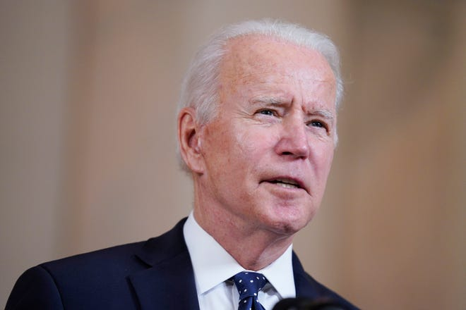President Joe Biden speaks Tuesday, April 20, 2021, at the White House in Washington, after former Minneapolis police Officer Derek Chauvin was convicted of murder and manslaughter in the death of George Floyd.