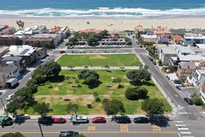 This April 8, 2021, file photo shows Bruce's Beach in Manhattan Beach, California.  Los Angeles County leaders took initial steps Tuesday, April 20, 2021, toward returning prime beachfront property to descendants of a Black couple who built a resort for African Americans but were stripped of the land by local city officials a century ago.