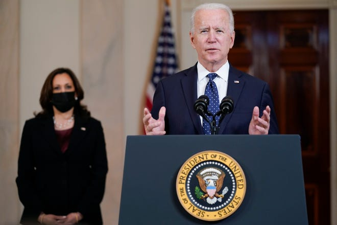 President Joe Biden, accompanied by Vice President Kamala Harris, speaks Tuesday, April 20, 2021, at the White House in Washington, after former Minneapolis police Officer Derek Chauvin was convicted of murder and manslaughter in the death of George Floyd.