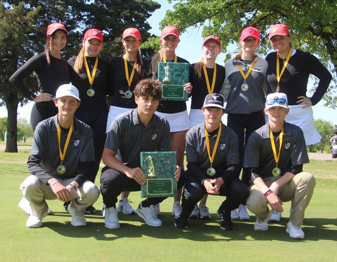 The Plainview girls and Lone Grove boys golf teams pose after winning the Lake Country Conference Tournament on Wednesday at Lakeview Golf Course.