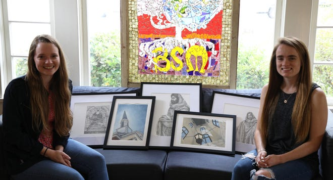 """HPU's Baptist Student Ministry will host an art auction in support of Go Now Missions from April 26 to May 3 featuring artwork by Sarah """"Abi"""" Brown '20 (left) and HPU senior Haleigh Clevenger."""