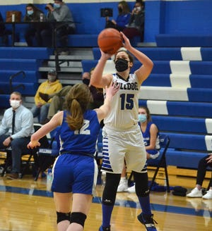Inland Lakes sophomore guard Natalie Wandrie (right) recently earned a spot on the All-Ski Valley Conference girls basketball first team.