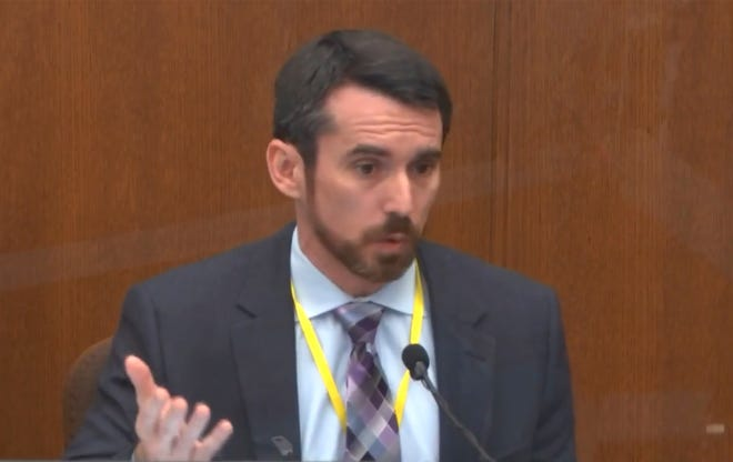 """Seth Stoughton, a use of force expert, testifies for the prosecution on April 12, 2021, in the murder trial of former Minneapolis police officer Derek Chauvin, saying that """"no reasonable officer"""" would have used the restraint method that led to the death of George Floyd. The jury convicted Chauvin on Tuesday. After reviewing body-camera video of the Columbus police shooting of Ma'Khia Bryant this week, Stoughton said: """"I don't see any clear options or alternatives that were available to the officer."""""""