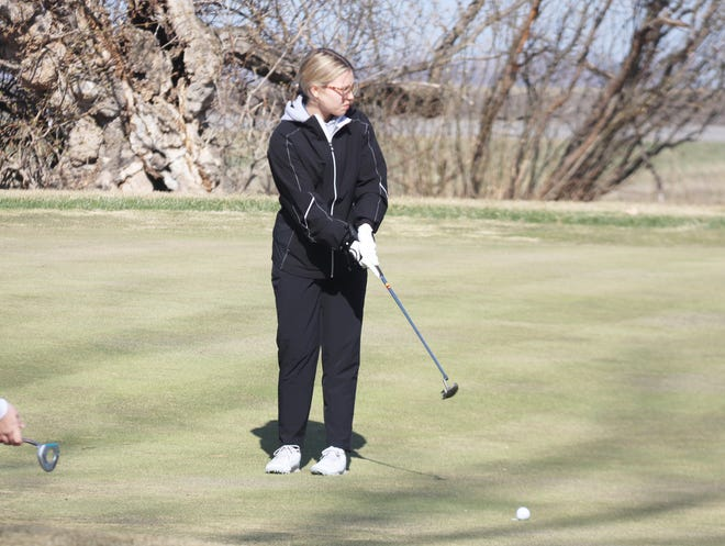 Hannah Brouse putts during the Pirate Invitational at Minakwa Golf Course on April 26. Brouse broke 100 for a second straight round Wednesday at Bemidji Town and Country Club.