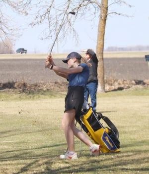 Sophia Rezac plays during the Crookston girls' golf team's home invitational at Minakwa Golf Course on Thursday, April 22.
