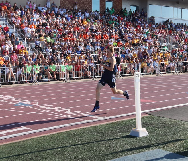 Noah Kiel crosses the finish line in the 200 meters at the 2019 Class A State Meet in St. Paul.