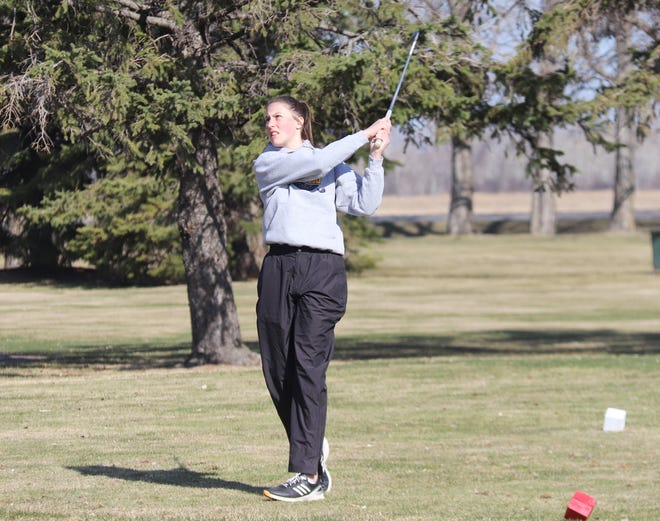Grace Fischer tees off at the Pirate Invitational on April 26. Fischer and the Crookston girls' golf team finished second at the Thief River Falls Invitational on Monday.