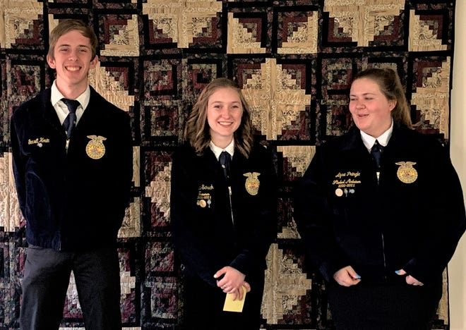 Garrett Houin, Becca Schuch and Alysa Pringle, sophomores at West Holmes will represent the West Holmes FFA at the state Ag Issues competition this weekend.