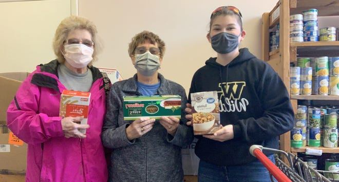 Pictured left to right: Carole Grodack, Farmers Care Chairperson; Sharon Herzog, Pantry Director; and Zoey Goldman, Western Wayne student & Carole's granddaughter.