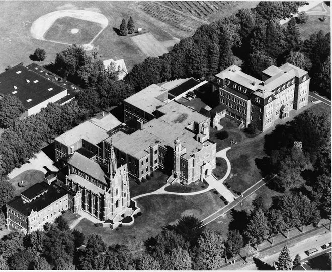 """An aerial view of the Redemptorist Fathers seminary in North East taken by Craig """"Bus"""" Scott, date unknown. The buildings served as the Mercyhurst North East campus from 1991 to 2021."""