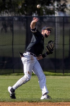 Galesburg High School shortstop Easton Steck makes an off-balance throw during the Silver Streaks' 12-2 six-inning win over Limestone on Wednesday, April 21, 2021 at Jim Sundberg Field.