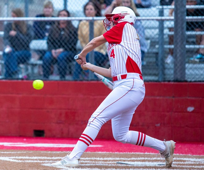 Glen Rose's Addison Nance, seen here in action against Stephenville earlier in the year, belted a solo homer in the 6-2 loss at Lampasas on Tuesday night.