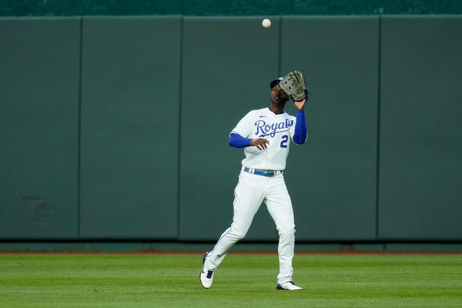 Kansas City Royals center fielder Michael A. Taylor catches a fly ball during the fourth inning Monday against the Rays  in Kansas City, Mo.