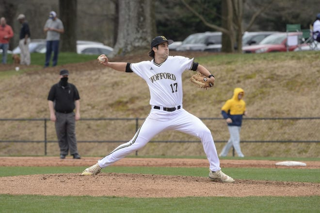 Wofford's Elliot Carney, who threw a recent no-hitter, seen earlier this season. (Wofford Athletics Photo)