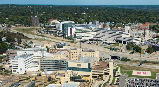 An aerial view of UnityPoint Methodist and OSF HealthCare St. Francis Medical Center campuses in Downtown Peoria.