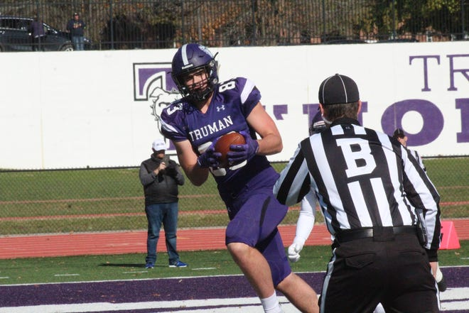 Truman tight end Jake Ellis catches a touchdown during the 2019 season against McKendree.