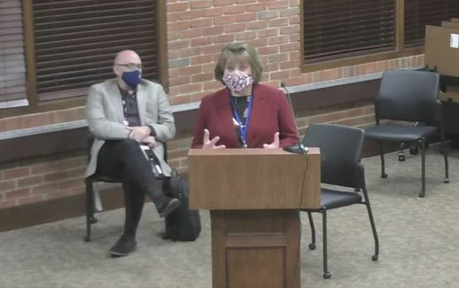 Superintendent Kathryn Powers presented a preliminary plan for the 2021-22 school year. Under the tentative plan, most students would return to their regular school buildings. However, half of the sixth-grade class would go to Dodge Intermediate and the other half to R.. Chamberlin Middle School to ensure at least 4 feet of social distancing.