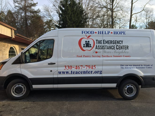 The Emergency Assistance Center's new mobile food pantry will be parked at Discount Drug Mart May 4 to accept donations of food and personal care products. Items collected will be delivered in the van to central locations for distribution to Hudson residents.