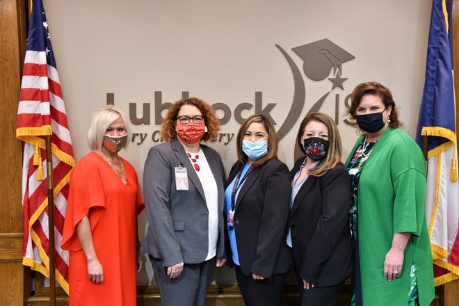 From left to right: Koty Gonzales, Amanda Boland, Leticia Guiterrez, Yvonne Valdez, and Dr. Kathy Rollo