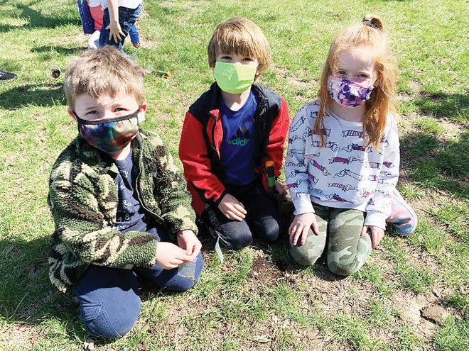 Glenwood Ridge Elementary School kindergarten students Jack Baldwin, Harry Budimlija and Everly Pike worked together to grow red clover as part of a science experiment.