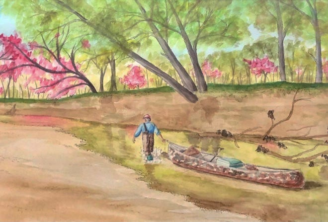 """Northeast R-IV School at Cairo senior Emily Decoske's watercolor and ink painting named """"Fishing Trip"""" earned second place in the  39th annual Congressional Art Competition for Missouri's Fourth Congressional District."""