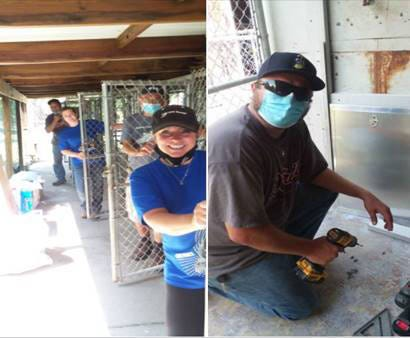 DTE workers, during the DTE Month of Caring in August, 2020, helped repair kennel doors for the Humane Society of Monroe County.