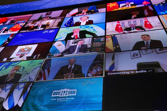 World leaders virtually attend the Leaders Summit on Climate, as seen from the East Room of the White House on Thursday, April 22, 2021, in Washington.
