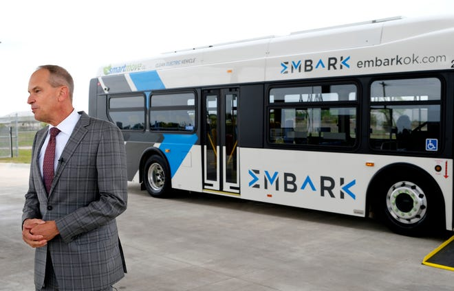 Jason Ferbrache, transit and parking director, introduced into service Oklahoma City's first electric bus last month.