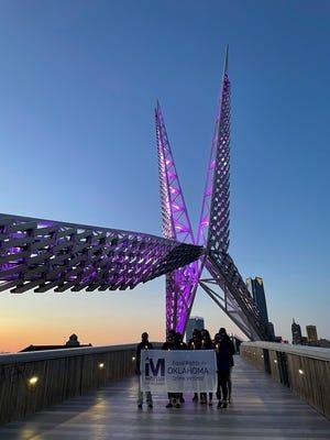 Advocates promote crime victims' rights on the Skydance Bridge in Oklahoma City.