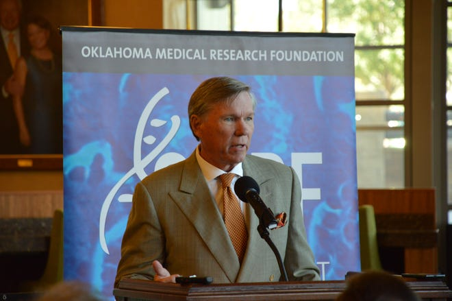 Longtime Oklahoma Medical Research Foundation President Dr. Stephen Prescott speaks at a news conference in this 2013 photo. Prescott died Friday at 73.