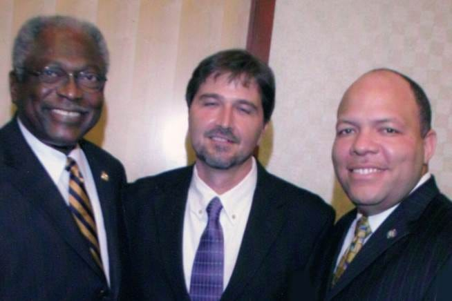 """Majority Whip in the U.S. House James """"Jim"""" Clyburn, at left, poses with Brent Wilcox, center, and Oklahoma Rep. Mike Shelton, when Shelton was chairman of the Oklahoma Legislative Black Caucus."""