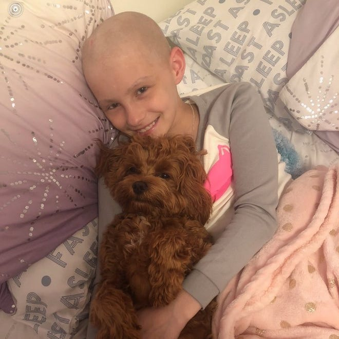 Maddie McCoy receiving treatment for  Rhabdomyosarcoma, or RMS, a very rare form of childhood cancer.