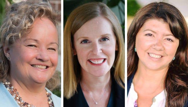 New Hampshire state Sens. Sue Prentisss, left, Becky Whitley and Rebecca Perkins Kwoka.