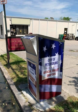 The ballot drop box placed outside the Petersburg registrar's office on North Market Street is shown in this undated Facebook photo. Petersburg registrar Dawn Wilmoth said she and her staff mailed out 462 absentee ballots and 27 ballots for Petersburg residents on active military duty in advance of the June 8 Democratic primary. Recipients of those mailed ballots have the option of dropping them off in the box or walking them into the office.