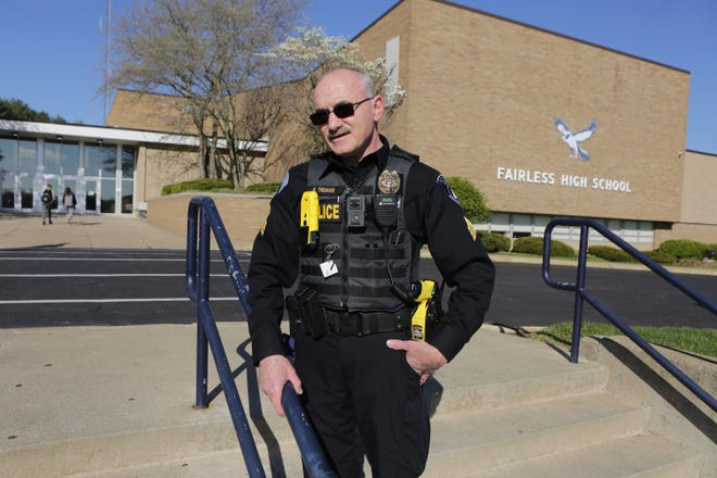 Brewster police Sgt. Ben Truman has been the Fairless High School resource officer since 2007. He talked Thursday morning about the job, which is funded by income tax levy revenue collected by the village. The levy is up for renewal on May 4.