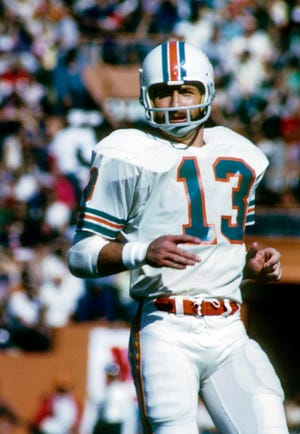 Miami Dolphins safety Jake Scott in action against the Cincinnati Bengals during an AFC divisional playoff game, Dec. 23, 1973,  at the Orange Bowl in Miami. The Dolphins won 34-16. (Malcolm Emmons-USA TODAY Sports)
