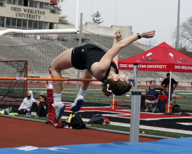 Peyton Howell competes in the high jump for the Ohio Wesleyan women's track team.
