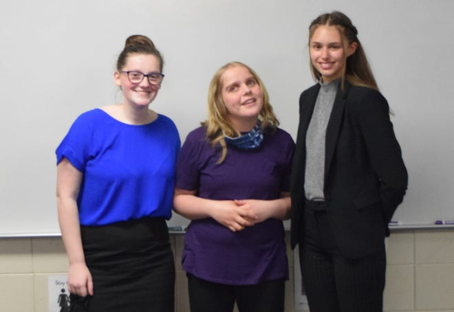 RedwoodAreaHighSchool Speech Team members, from left, Audrey Munshower, Sofia Panitzke, and Lexy Nelson competed in Sections April 17.