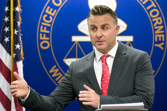 Winnebago County State's Attorney J. Hanley answers questions Thursday at the Winnebago County Courthouse during a news conference regarding investigations into two recent shootings by police.