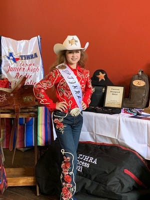 """Dallee Mae Robison won the Texas Junior High Rodeo Princess contest this past weekend in Gonzales. She competed in horsemanship, modeling, speech, test, impromptu and interview. She won horsemanship, interview and test. She is an eighth-grader at Henderson Junior High in Stephenville. Robison is competing at UIL One Act Play this week as Wendy in """"Peter Pan and Wendy."""" She will be a Stephenville High School Stingerette next year."""
