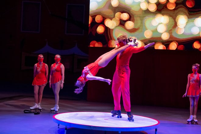 Tommy Johnson and Cora Thayer perform Acrobatic Roller Skating for the Sarasota Sailor Circus.