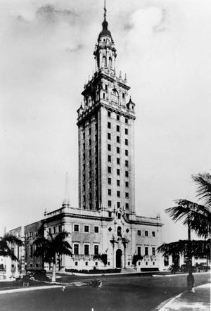 A photo of the News Tower from the 1930s. Located at 600 Biscayne Blvd., the News Tower was patterned after the 800-year-old Giralda bell tower in Seville, Spain. It was later added to the National Register of Historic Places in 1979 as Freedom Tower and to the National Historic Landmarks Program on Oct. 6, 2008. (State Archives of Florida)