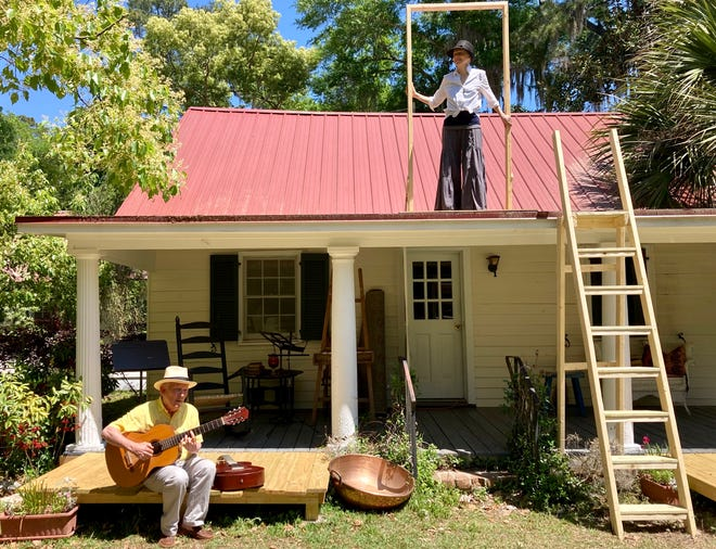 """Carver Blanchard and Maude Mitchell rehearse """"A Coffin in Egypt"""" at Carver's Barn in Vernonburg."""