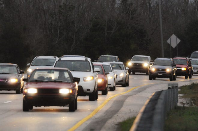 Traffic slows on U.S. 74/76  between Wilmington and Leland at rush hour Thursday, Jan. 17, 2013.