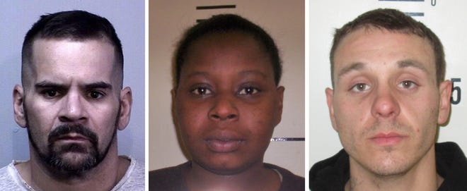 Pratt, Rogers and Mishler, shown here in older booking photos, had not been located as of Thursday.