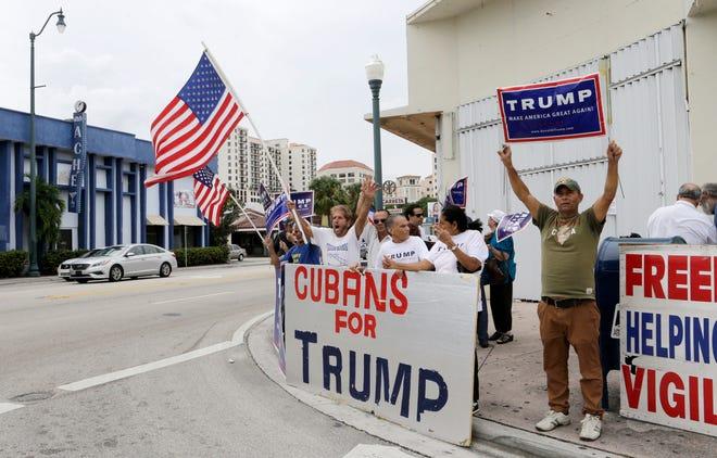 Cuban-Americans chant pro-Trump slogans in Miami.