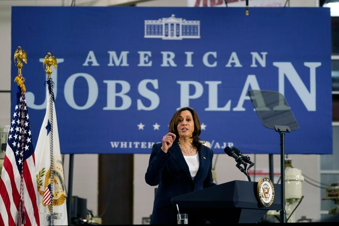 Vice President Kamala Harris speaks at Guilford Technical Community College in Jamestown, N.C., April 19 about the Biden administration's American Jobs Plan.