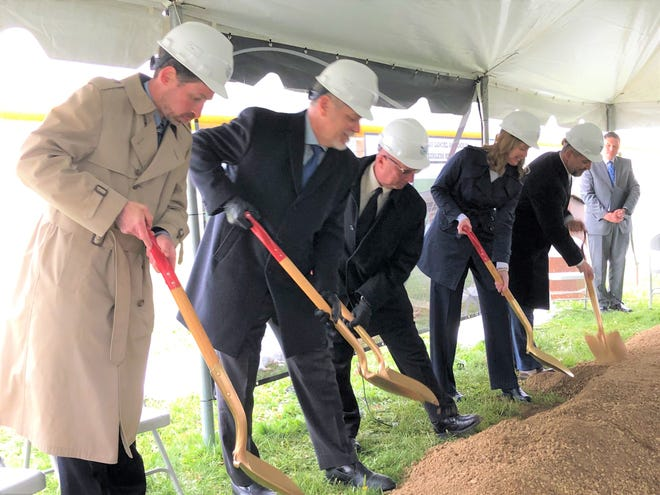 Members of the Fairless Board of Education took part in the ceremonial ground breaking for the new school.